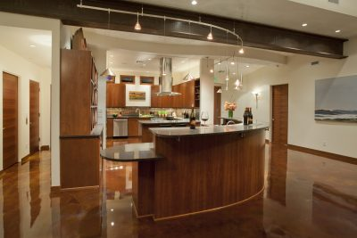 This universal design kitchen features a wheelchair height countertop.