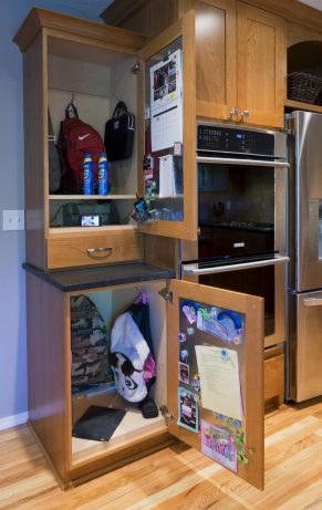 These cabinets at different heights are a great addition to a universal design kitchen.
