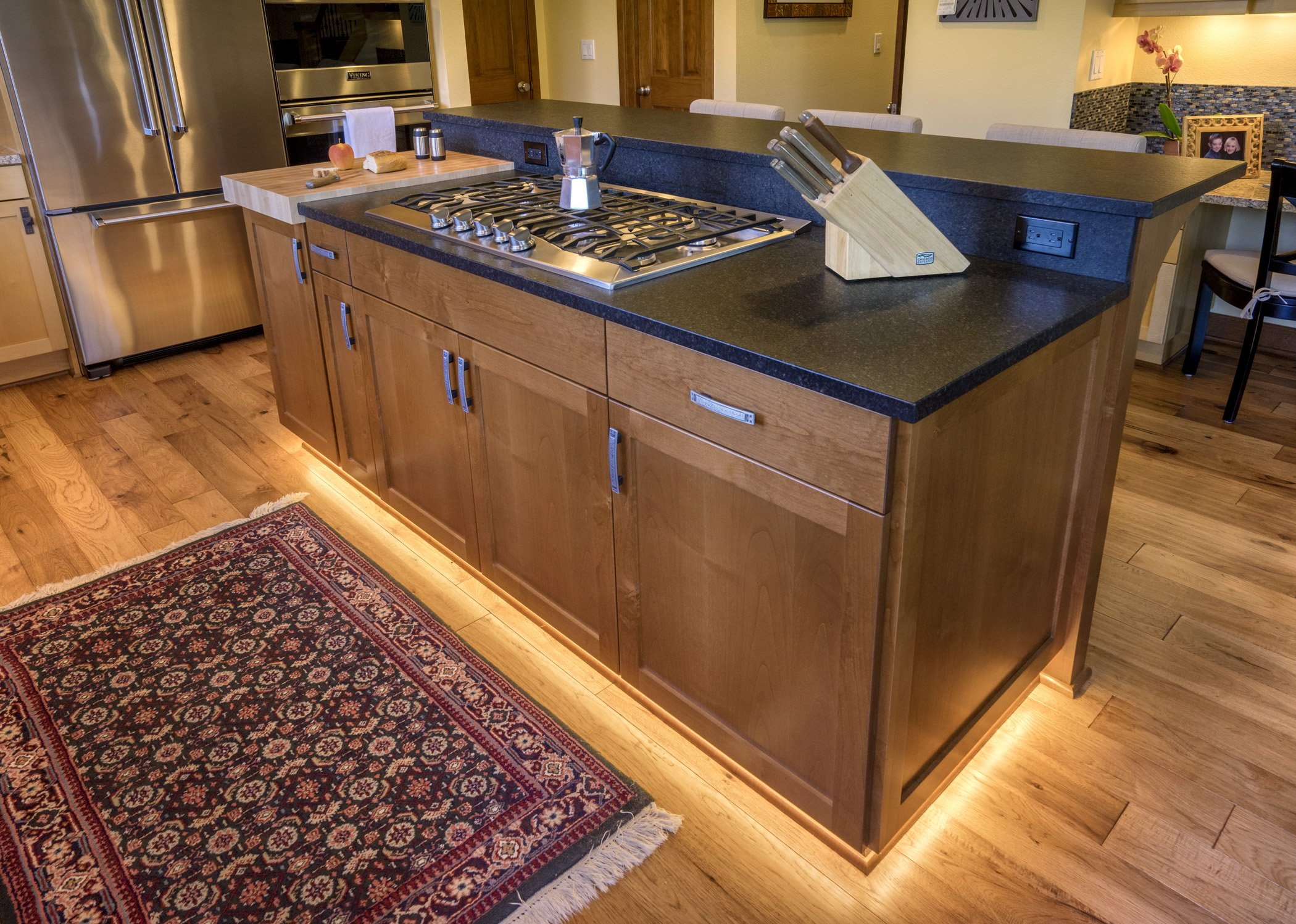 This universal design kitchen features toe kick lighting to help with low light navigation.